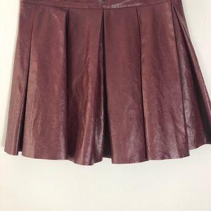 American Girl Skirts - Plum American Girl Pleated Leather Mini Skirt
